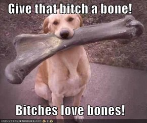 Give that bitch a bone!  Bitches love bones!