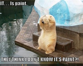 IT. . . Is paint.  THEY THINK I DON'T KNOW IT'S PAINT?!