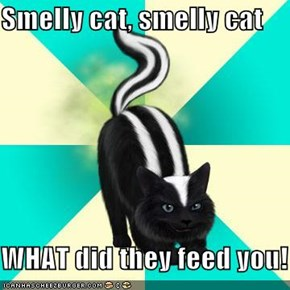 Smelly cat, smelly cat  WHAT did they feed you!