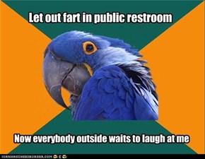 Let out fart in public restroom