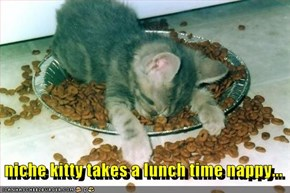niche kitty takes a lunch time nappy...