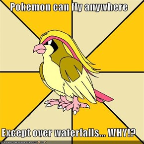 Pokemon can fly anywhere  Except over waterfalls... WHY!?