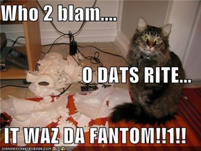 Who 2 blam.... O DATS RITE... IT WAZ DA FANTOM!!1!!