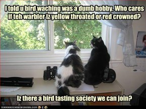 I told u bird waching was a dumb hobby. Who cares if teh warbler iz yellow throated or red crowned?  Iz there a bird tasting society we can join?