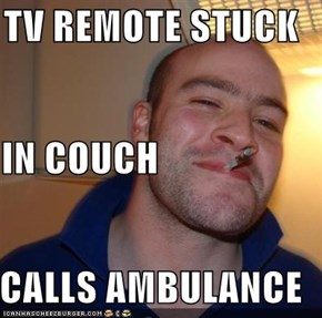 TV REMOTE STUCK IN COUCH CALLS AMBULANCE