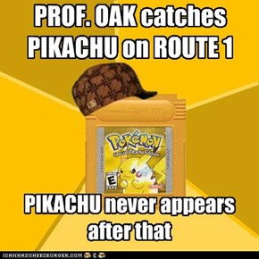 PROF. OAK catches PIKACHU on ROUTE 1