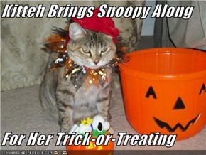 Kitteh Brings Snoopy Along  For Her Trick-or-Treating