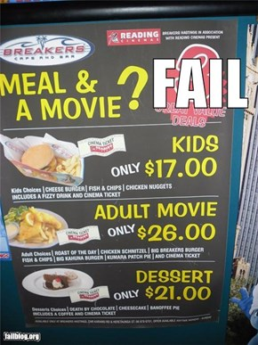 Adult movies with dinner fail