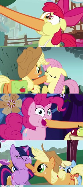 Applejack Likes Force Feeding Apples
