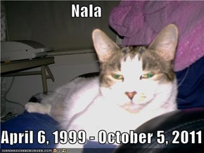 Nala  April 6, 1999 - October 5, 2011