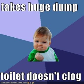 takes huge dump  toilet doesn't clog