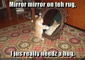 Mirror mirror on teh rug,     I jus really needz a hug.