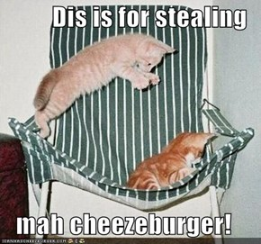 Dis is for stealing  mah cheezeburger!