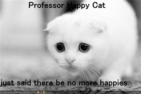Professor Happy Cat  just said there be no more happies.