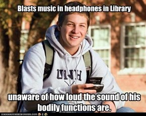 Blasts music in headphones in Library