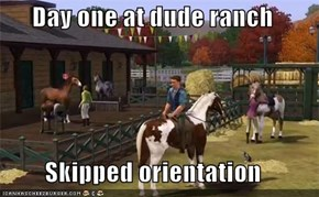 Day one at dude ranch