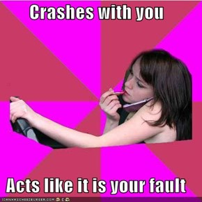 Crashes with you  Acts like it is your fault