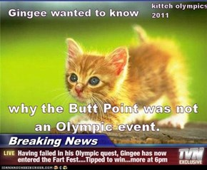 Breaking News - Having failed in his Olympic quest, Gingee has now entered the Fart Fest....Tipped to win...more at 6pm