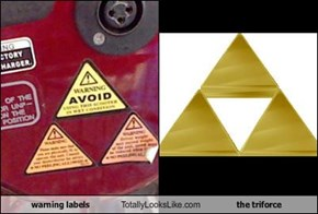 warning labels Totally Looks Like the triforce