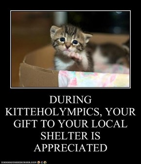 DURING KITTEHOLYMPICS, YOUR GIFT TO YOUR LOCAL SHELTER IS APPRECIATED