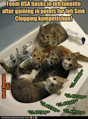 Kitteh Olympics 2011 Sink Clogging