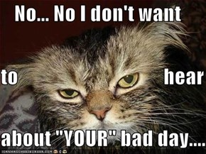 "No... No I don't want  to                                    hear about ""YOUR"" bad day...."