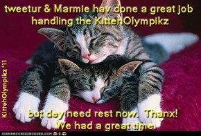 Thanx Marmie & tweetur! I Had A Blast At The KittehOlympikz!