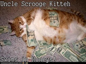 Uncle Scrooge Kitteh  Swims in Moneys!
