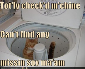 Tot'ly check'd m'chine Can't find any missin sox ma'am