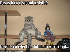 Dis is how u spend ur lyfe?  Now i see why the doll is ur gurlfrend...