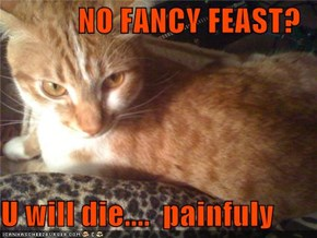 NO FANCY FEAST?  U will die....  painfuly