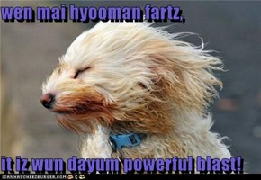 wen mai hyooman fartz,  it iz wun dayum powerful blast!