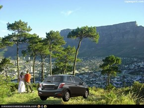 Nobody should be embarassed to drive a Yaris to check out the scenery here in Cape Town. :)