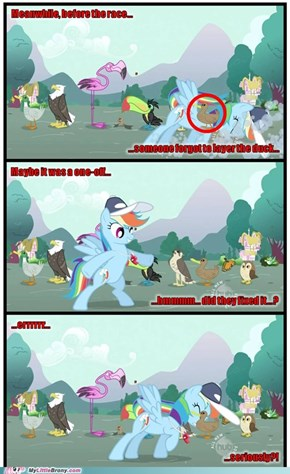 Rainbow Dash versus some sloppy pro-duck-tion...