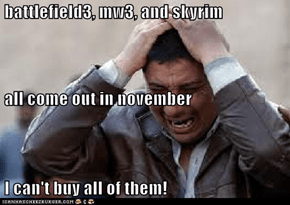 battlefield3, mw3, and skyrim  all come out in november   I can't buy all of them!