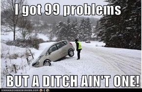 I got 99 problems    BUT A DITCH AIN'T ONE!