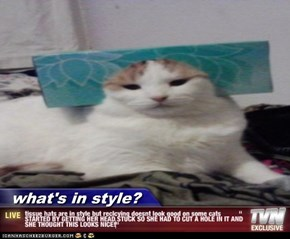 "what's in style? - tissue hats are in style but reclcying doesnt look good on some cats          "" STARTED BY GETTING HER HEAD STUCK SO SHE HAD TO CUT A HOLE IN IT AND SHE THOUGHT THIS LOOKS NICE!"""