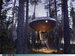 Spend a Night in a Spooky Cool UFO Treehouse