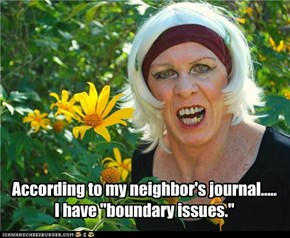 "According to my neighbor's journal.....I have ""boundary issues."""
