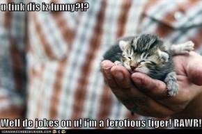 u tink dis iz funny?!?  Well de jokes on u! i'm a ferotious tiger! RAWR!