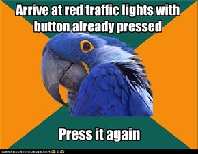 Arrive at red traffic lights with button already pressed
