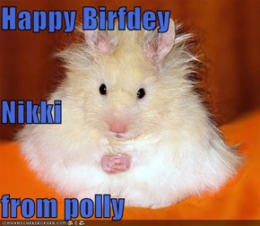 Happy Birfdey Nikki from polly