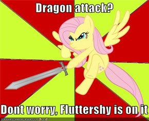 Dragon attack?  Dont worry, Fluttershy is on it