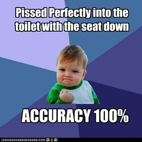 Pissed Perfectly into the toilet with the seat down