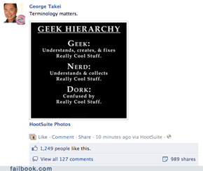 "George Takei's ""Geek Hierarchy"""