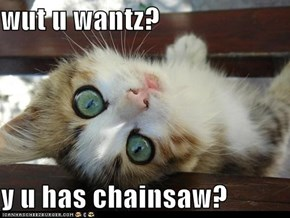 wut u wantz?  y u has chainsaw?