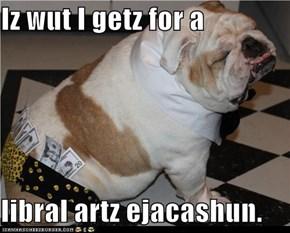 Iz wut I getz for a  libral artz ejacashun.