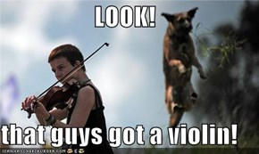 LOOK!  that guys got a violin!