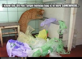 I know the '09 red Target holiday bag is in here SOMEWHERE....
