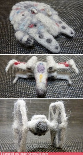 Needle Felted Star Wars Vehicles